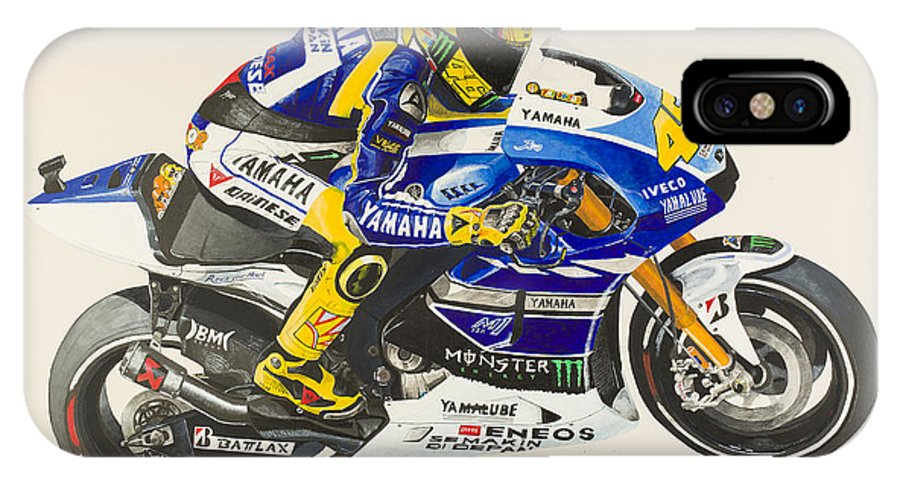 Valentino IPhone X Case featuring the painting Valentino Rossi by John Savage