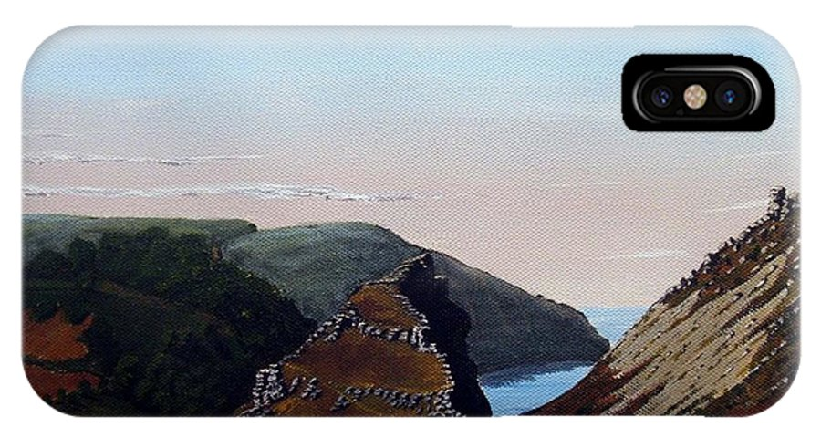 Landscape IPhone X Case featuring the painting Valley Of Rocks Devon by Richard Taylor