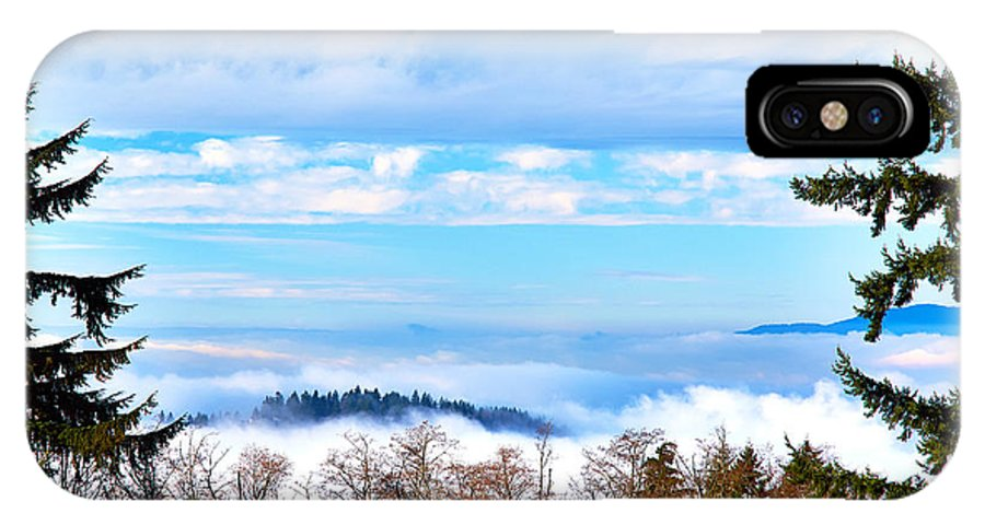 Fog IPhone X Case featuring the photograph Vancouver Fog From Burnaby Mtn by Glenn Buchanan