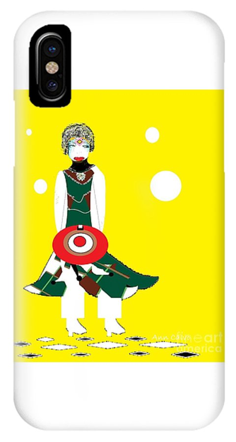 Military IPhone X Case featuring the digital art Vanguard Girl by Ann Calvo