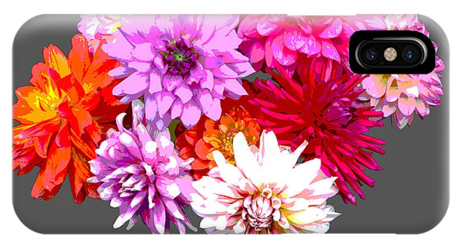 Flowers IPhone X Case featuring the digital art Vase Of Bright Dahlia Flowers Posterized by Rosemary Calvert