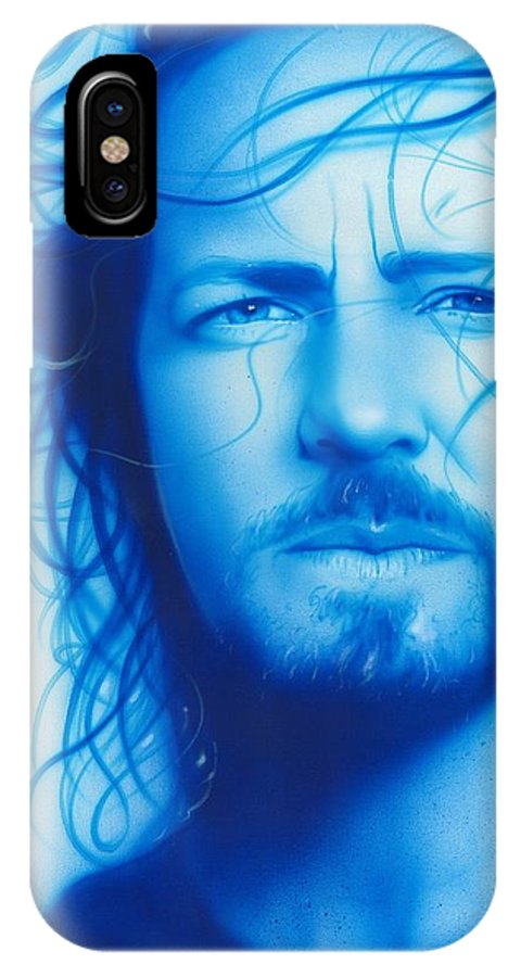 Seattle IPhone X Case featuring the painting Vedder by Christian Chapman Art