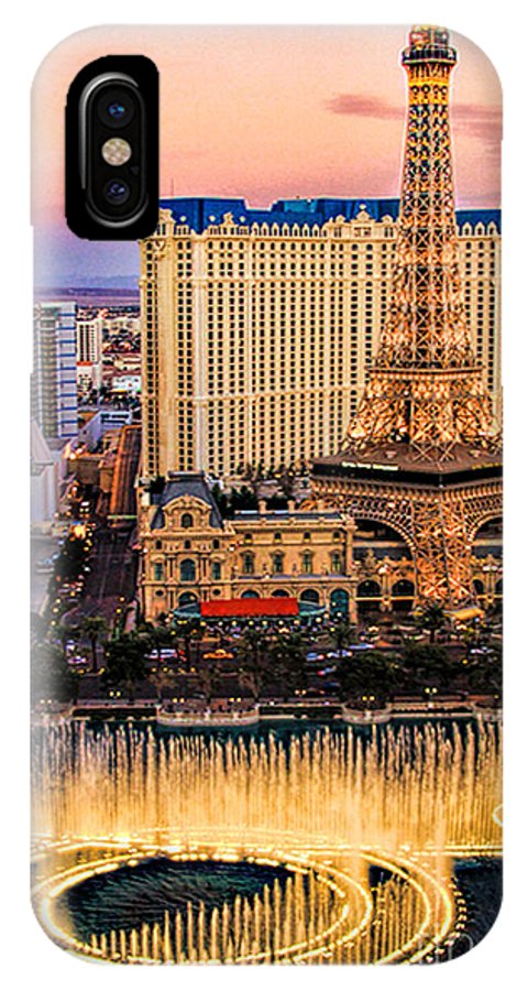 Bellagio IPhone X Case featuring the photograph Vegas Water Show by Tammy Espino