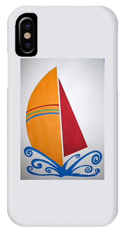 Ocean IPhone X Case featuring the drawing Velas by Zoe Vega Questell