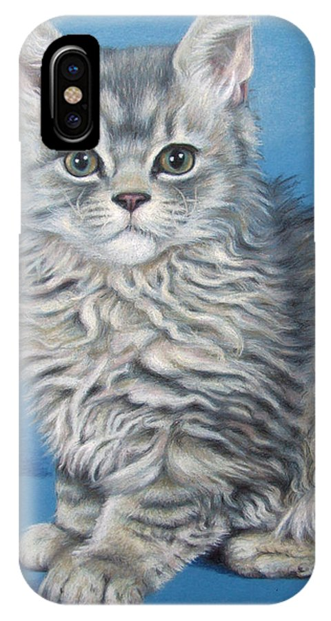 Cat IPhone Case featuring the drawing Velvet Kitten by Nicole Zeug