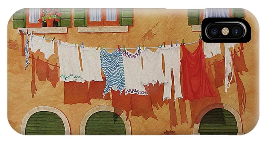 Venice IPhone X Case featuring the painting Venetian Washday by Mary Ellen Mueller Legault
