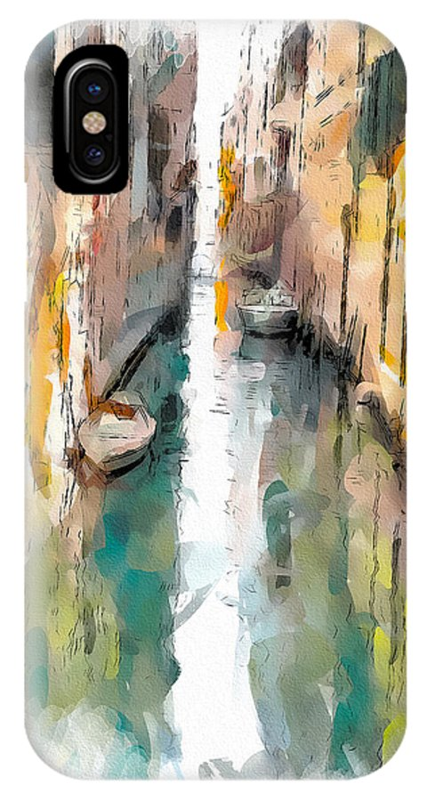 Venice IPhone X Case featuring the digital art Venice Canals 0 by Yury Malkov