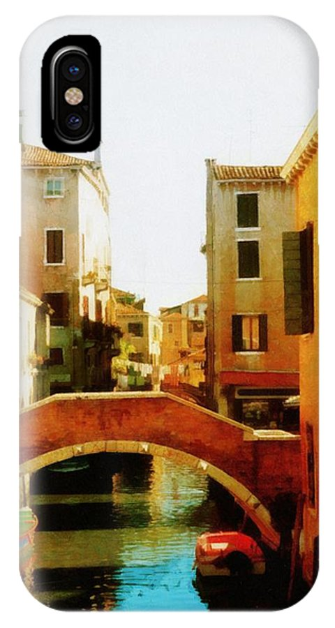 Venice IPhone X Case featuring the photograph Venice Italy Canal With Boats And Laundry by Michelle Calkins