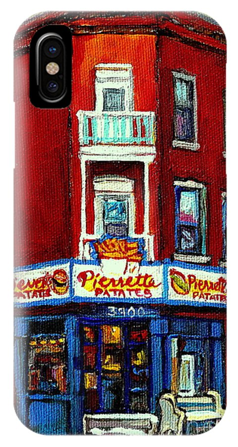 Verdun IPhone X Case featuring the painting Verdun Landmarks Pierrette Patates Resto Cafe Deli Hot Dog Joint- Historic Marquees -montreal Scene by Carole Spandau