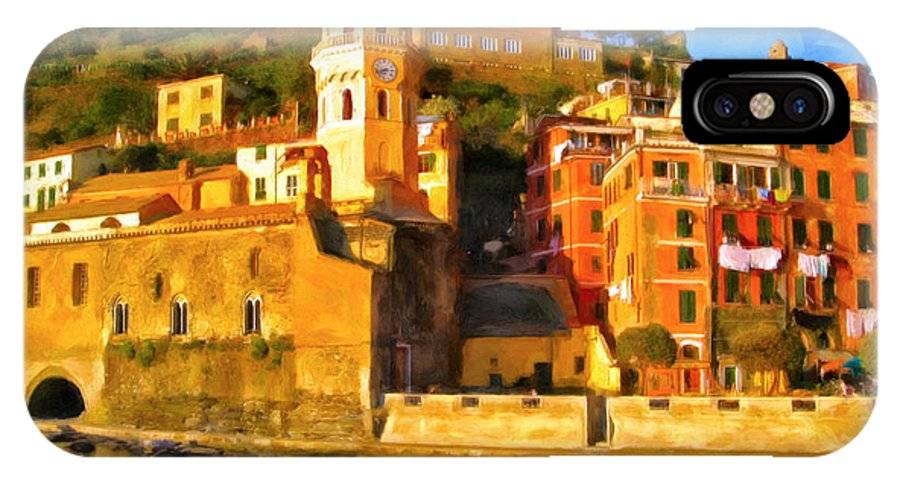 Cinque Terre IPhone X Case featuring the painting Vernazza by Michael Pickett