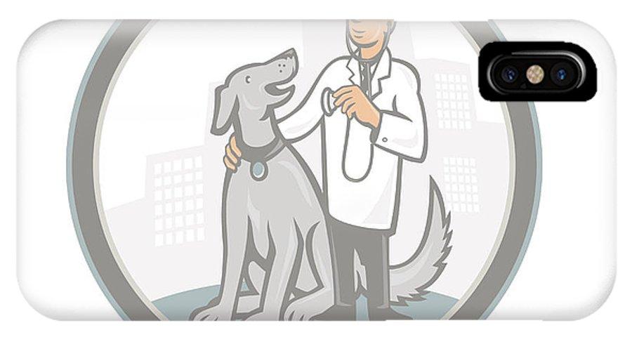 Vet IPhone X Case featuring the digital art Veterinarian Vet With Pet Dog Cartoon by Aloysius Patrimonio