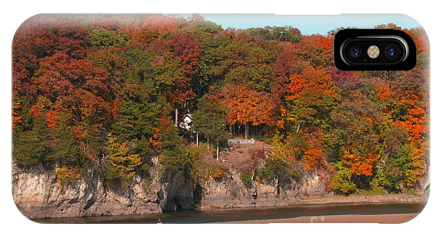 Autumn IPhone X Case featuring the photograph Vibrant Fall Riverside by Minding My Visions by Adri and Ray