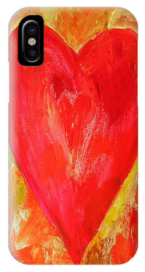 Heart Painting IPhone X Case featuring the painting Vibrant Love by Gina Haining