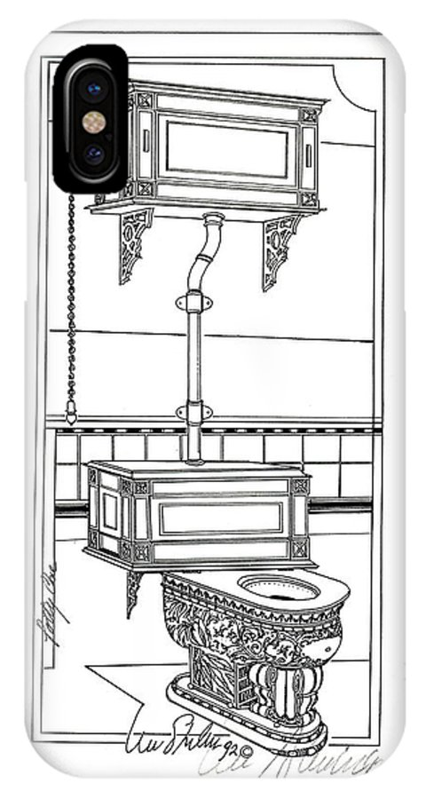 Potties IPhone X / XS Case featuring the drawing Victorian Potty by Ira Shander