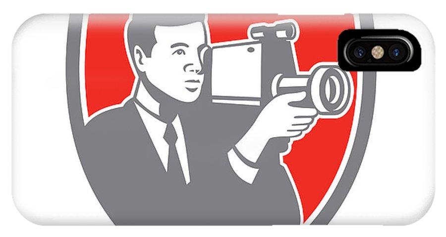 Photographer IPhone X / XS Case featuring the digital art Video Cameraman Shooting Vintage Shield Retro by Aloysius Patrimonio
