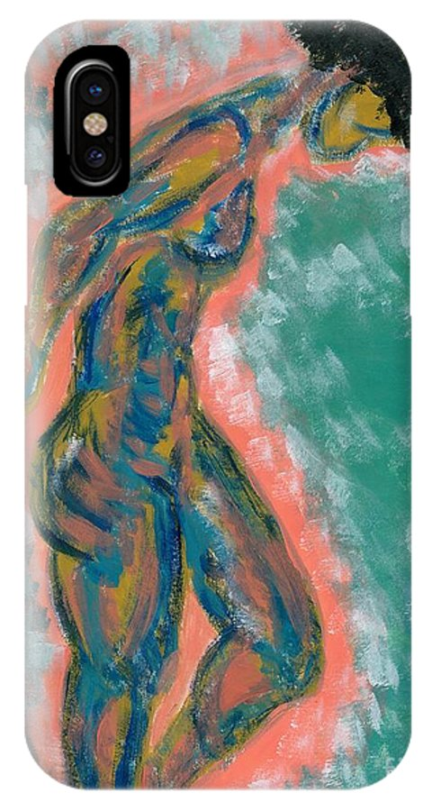 Woman IPhone X Case featuring the painting Vie En Rose by Lowan Anderson