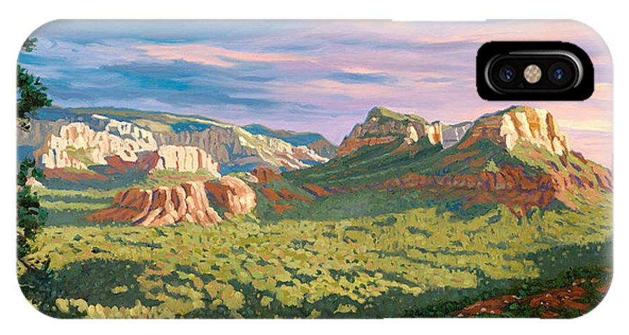 Sedona IPhone Case featuring the painting View From Airport Mesa - Sedona by Steve Simon