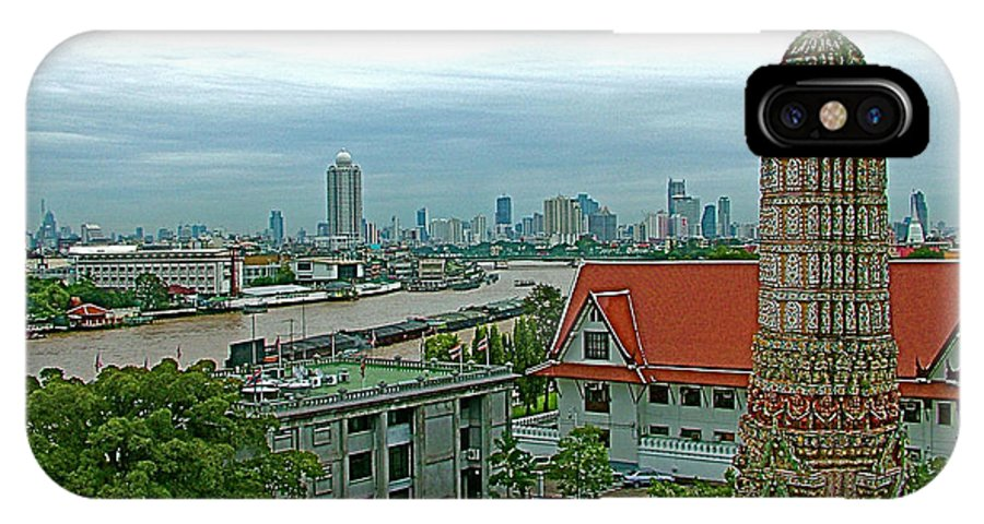 View From Temple Of The Dawn IPhone X Case featuring the photograph View From Temple Of The Dawn-wat Arun In Bangkok-thailand by Ruth Hager