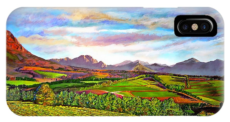 Landscape IPhone X Case featuring the painting View from Warwick Vineyard by Michael Durst