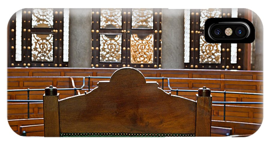 St Georges Hall IPhone X Case featuring the photograph View Into Courtroom From Judges Chair by Ken Biggs