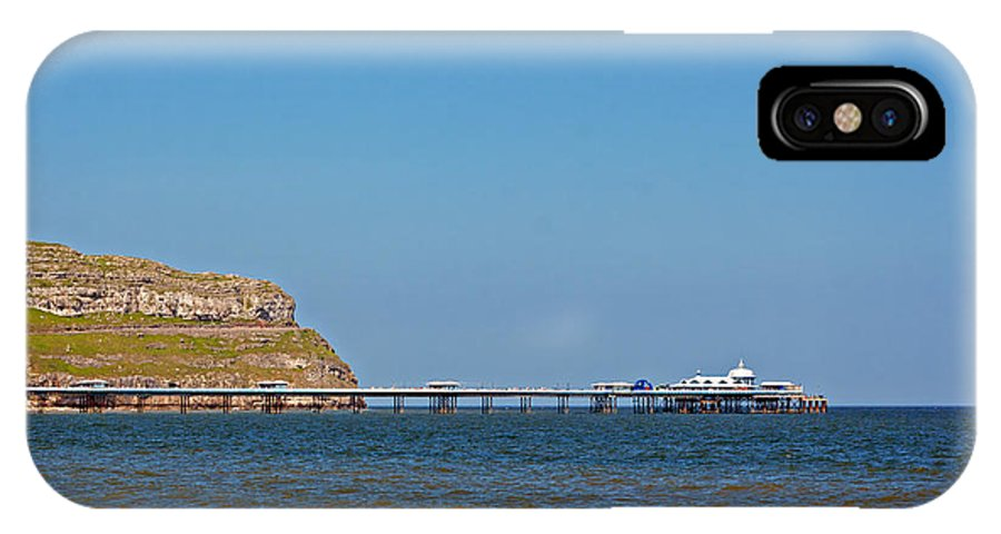 Great Orme; Wales; Llandudno; Blue; Hill; Uk; Mountain; Panorama; Sunny; Green; Sea; Sky; Grass; View; Countryside; Grassy; Conwy; Country; Solitude; Slope; Hillside; Looking; Headland; Head; Bay; Rocks; Scenic IPhone X Case featuring the photograph view of Great Orme in Llandudno Wales by Ken Biggs
