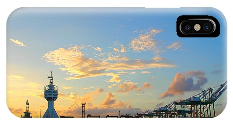 Evening IPhone X Case featuring the photograph View Of Kaohsiung Harbor Entrance After Sunset by Yali Shi