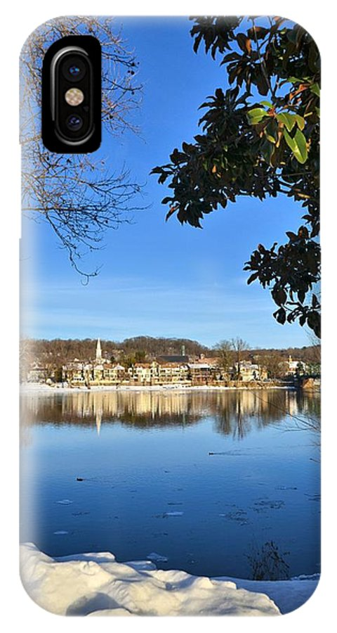 Lambertville IPhone X Case featuring the photograph View Of Lambertville Nj From New Hope Pa-winter 1 by Alex Vishnevsky