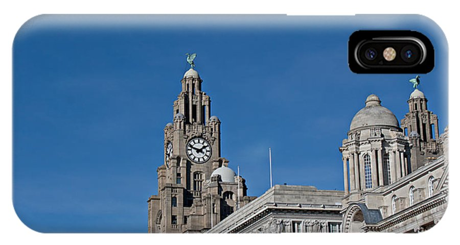Liver Buildings IPhone X Case featuring the photograph View Of Liverpool Waterfront by Ken Biggs