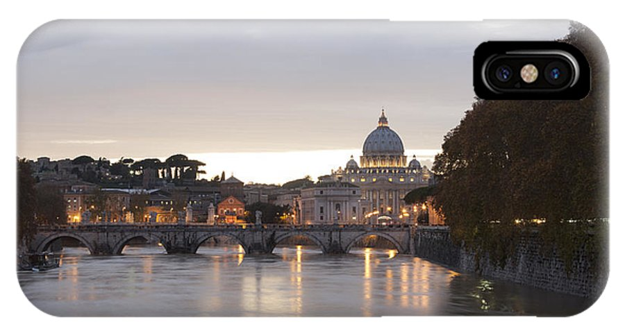 Rome IPhone X Case featuring the photograph View Of St Peter's Basilica And Saint Angel Bridge by Goncalo Feliciano