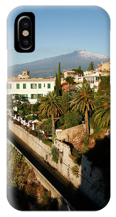 Architecture IPhone X Case featuring the photograph View Over Taormina And Mountain Etna by Yadid Levy