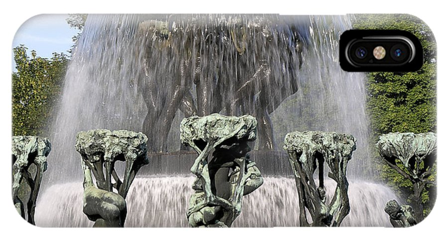 Fountain IPhone X / XS Case featuring the photograph Vigelands Fountain 2 by David Berg