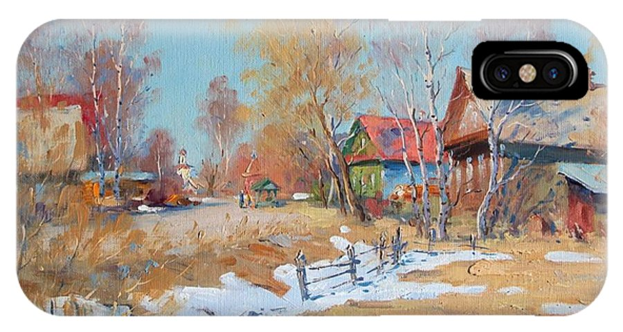 Winter IPhone X Case featuring the painting Village by Alexandrovsky Alexander