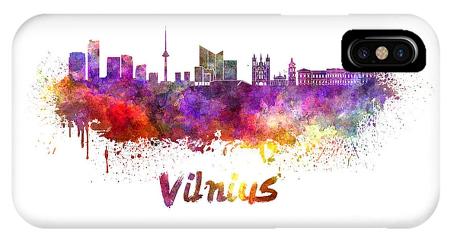 Vilnius IPhone X Case featuring the painting Vilnius Skyline In Watercolor by Pablo Romero