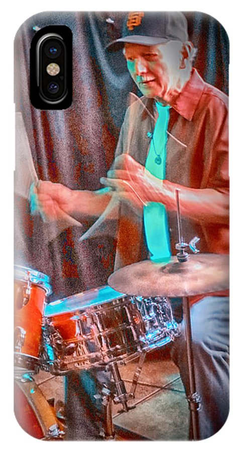 Drummer IPhone X Case featuring the photograph Vince Lateano On Drums by Jessica Levant