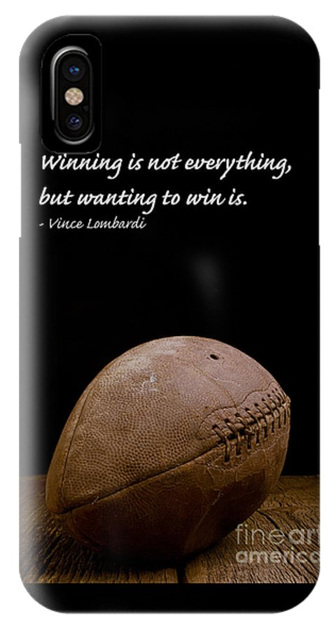 Football IPhone X Case featuring the photograph Vince Lombardi On Winning by Edward Fielding