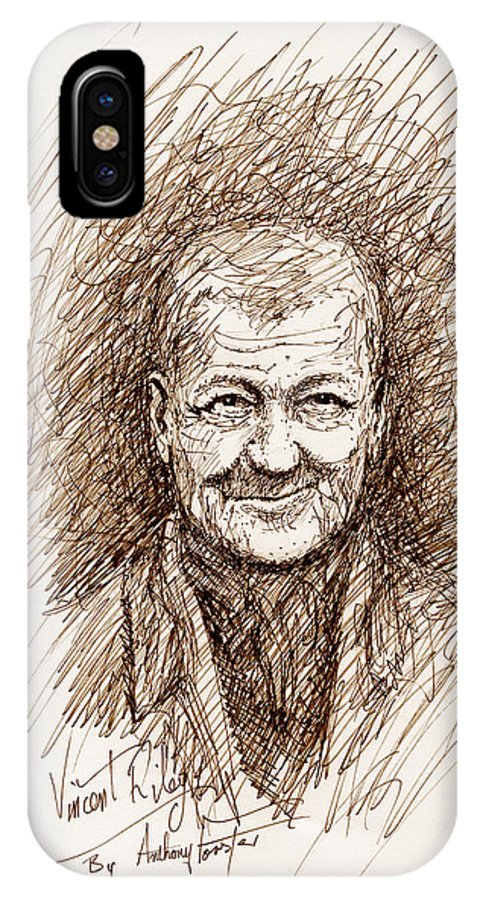 Old Rogue IPhone X Case featuring the drawing Vincent Riley by Anthony Forster