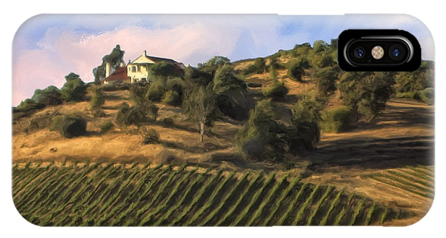 Vineyard IPhone X Case featuring the painting Vineyard Near Avila Beach by Dominic Piperata