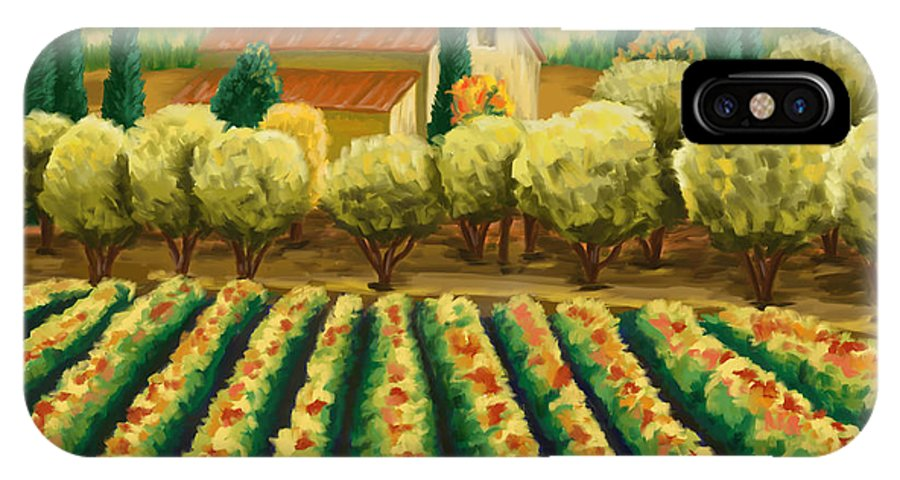 Vineyard IPhone X Case featuring the painting Vineyard With Olives Tuscany by Tim Gilliland