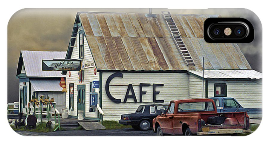 Alaska IPhone X Case featuring the photograph Vintage Alaska Cafe by Ron Day