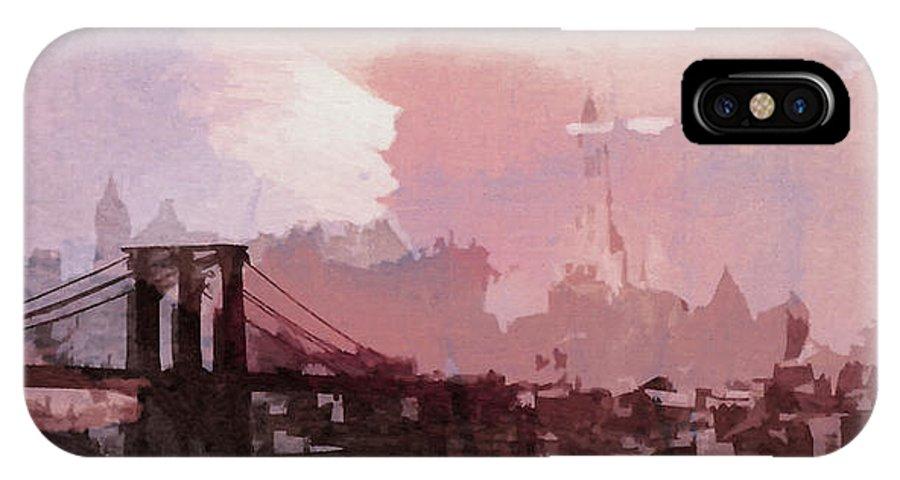 Brooklyn Bridge New York Nyc Ny City Cityscape Usa Skyscraper Abstract Painting Digital Art Manhattan Symbol Sight 1930 Vintage America IPhone X Case featuring the painting Vintage America Brooklyn 1930 by Steve K