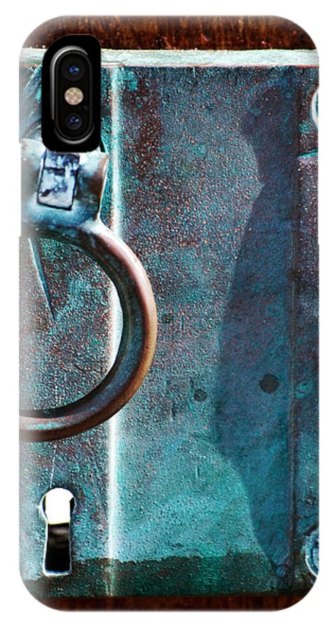 Door IPhone X Case featuring the photograph Vintage Boat Door Knob by Holly Blunkall