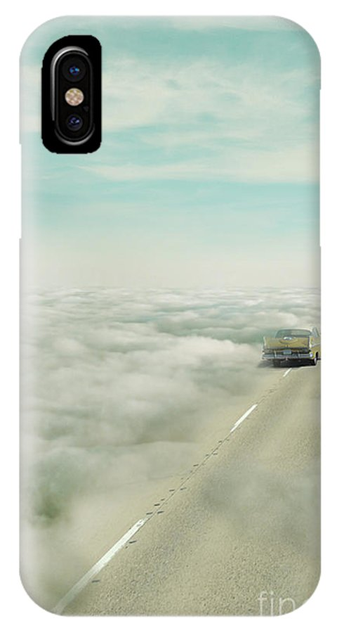 Atmosphere IPhone X Case featuring the photograph Vintage Car Driving Into Clouds by Jill Battaglia