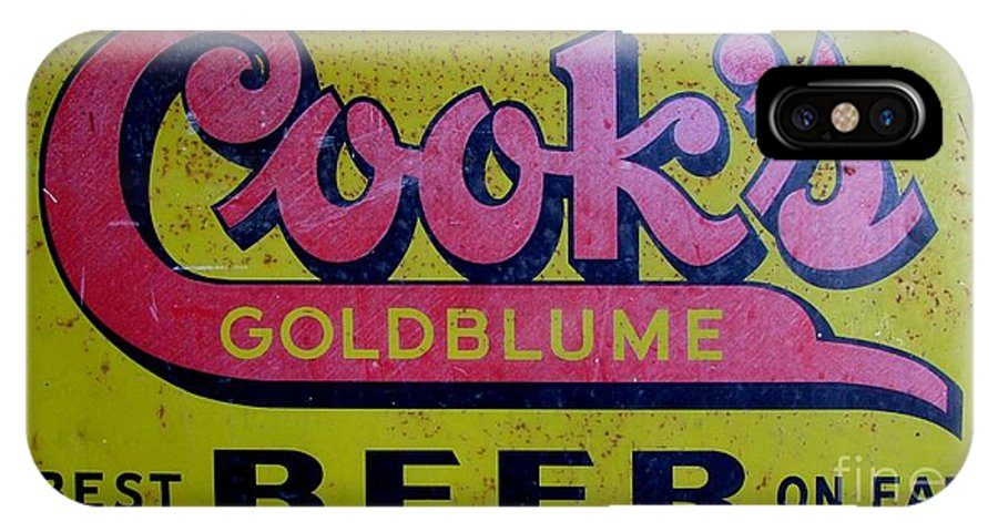 Cook's Beer IPhone X Case featuring the photograph Vintage Cooks Goldblume Beer Sign by Mary Deal