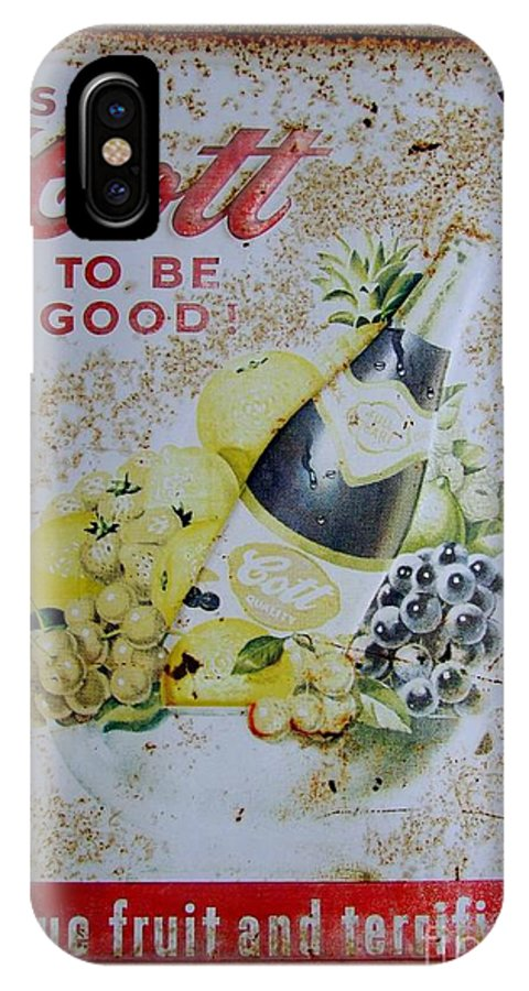 Sign IPhone X Case featuring the photograph Vintage Cott Fruit Juice Sign by Mary Deal