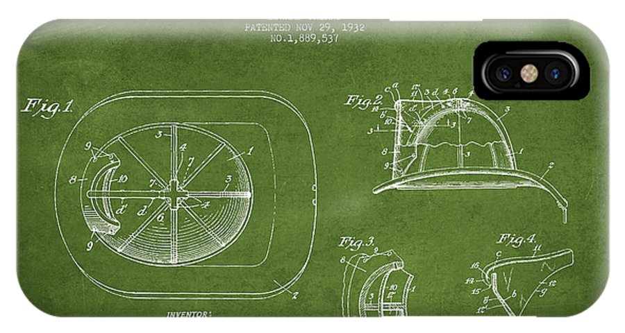 Firefighter IPhone X / XS Case featuring the digital art Vintage Firefighter Helmet Patent Drawing From 1932 - Green by Aged Pixel