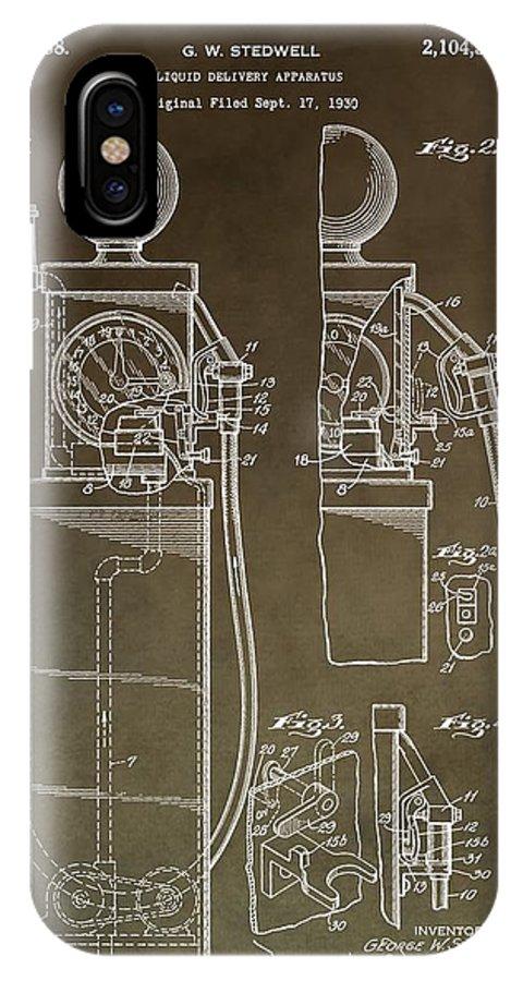 Vintage Gas Pump Patent IPhone X Case featuring the mixed media Vintage Gas Pump Patent by Dan Sproul