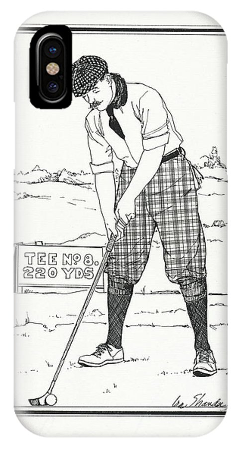 Golf IPhone X / XS Case featuring the drawing Vintage Golfer 1900 by Ira Shander