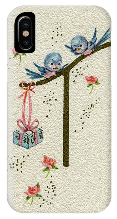Vintage Greeting Card By Pierpont Bay Archives. Baby Blue Birds Gift Present Surprise For Baby Infant New Arrival Roses Sparkle IPhone X Case featuring the painting Vintage Greeting. Baby Bluebirds Bring Gift For New Infant by Pierpont Bay Archives