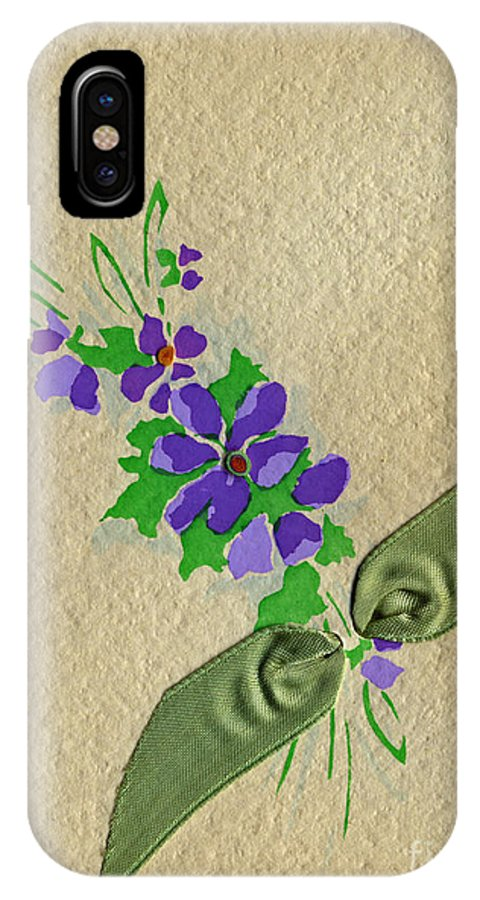 Vintage Greeting Card By Pierpont Bay Archives. Vintage Greeting. Bouquet Of Purple Spray Flowers With Green Ribbon. IPhone X Case featuring the painting Vintage Greeting. Bouquet Of Purple Spray Flowers With Green Ribbon. by Pierpont Bay Archives