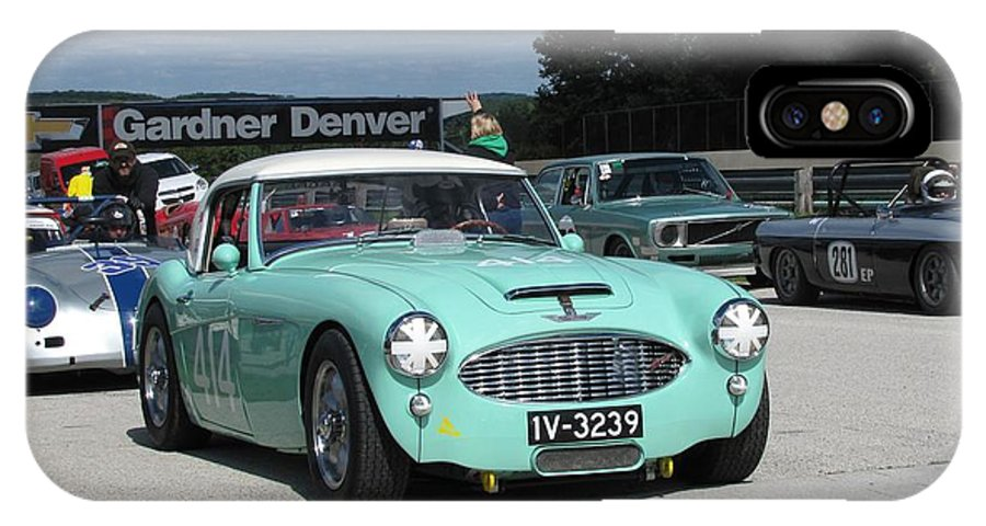 Race IPhone X Case featuring the photograph Vintage Healey In Starting Grid by Neil Zimmerman